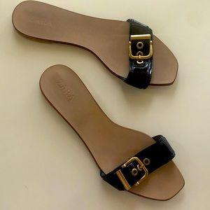 Zara Navy Blue Flat Sandals Sz 8